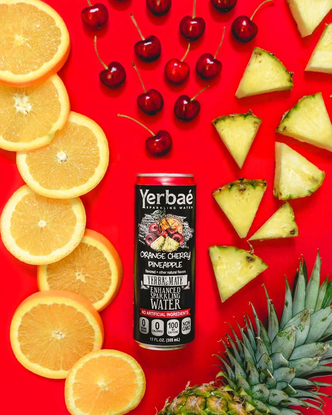 A can of Yerbaé sparking water in the flavor orange cherry pineapple