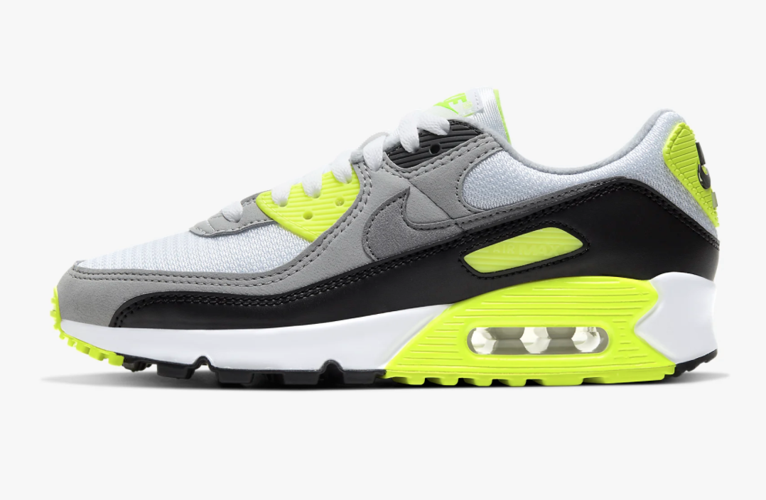 Nike Air Max 90 sneakers in green, gray, black, and white