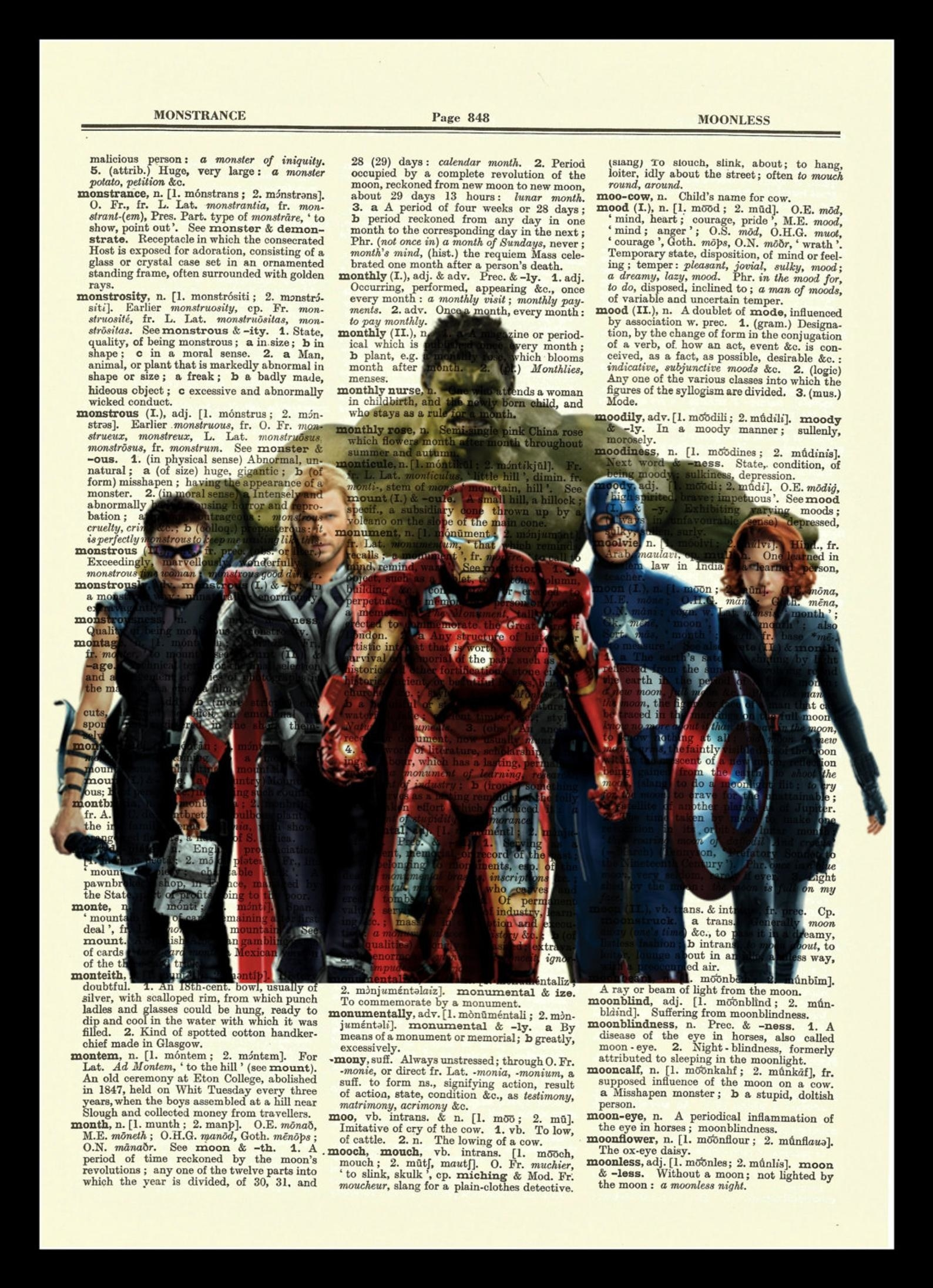A dictionary print with an overlay of The Avengers
