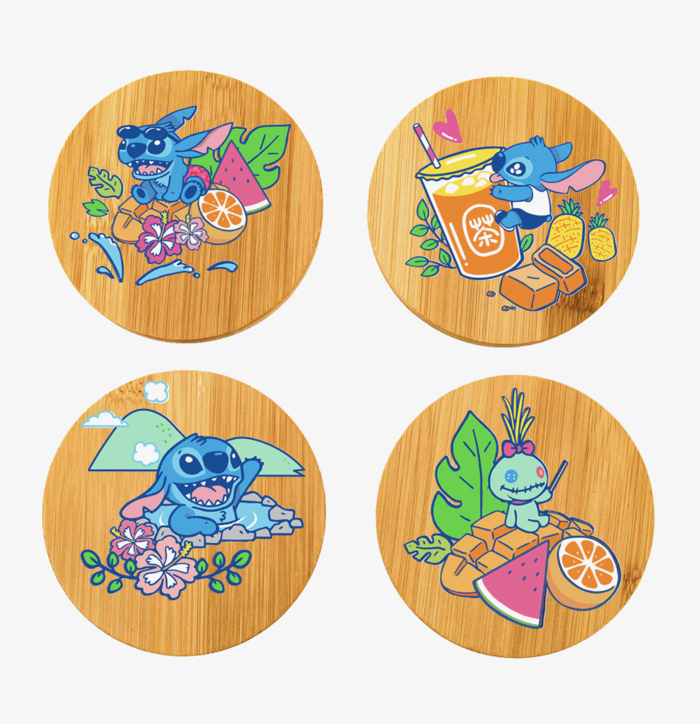 a set of four bamboo coasters with different illustrations of stitch on them
