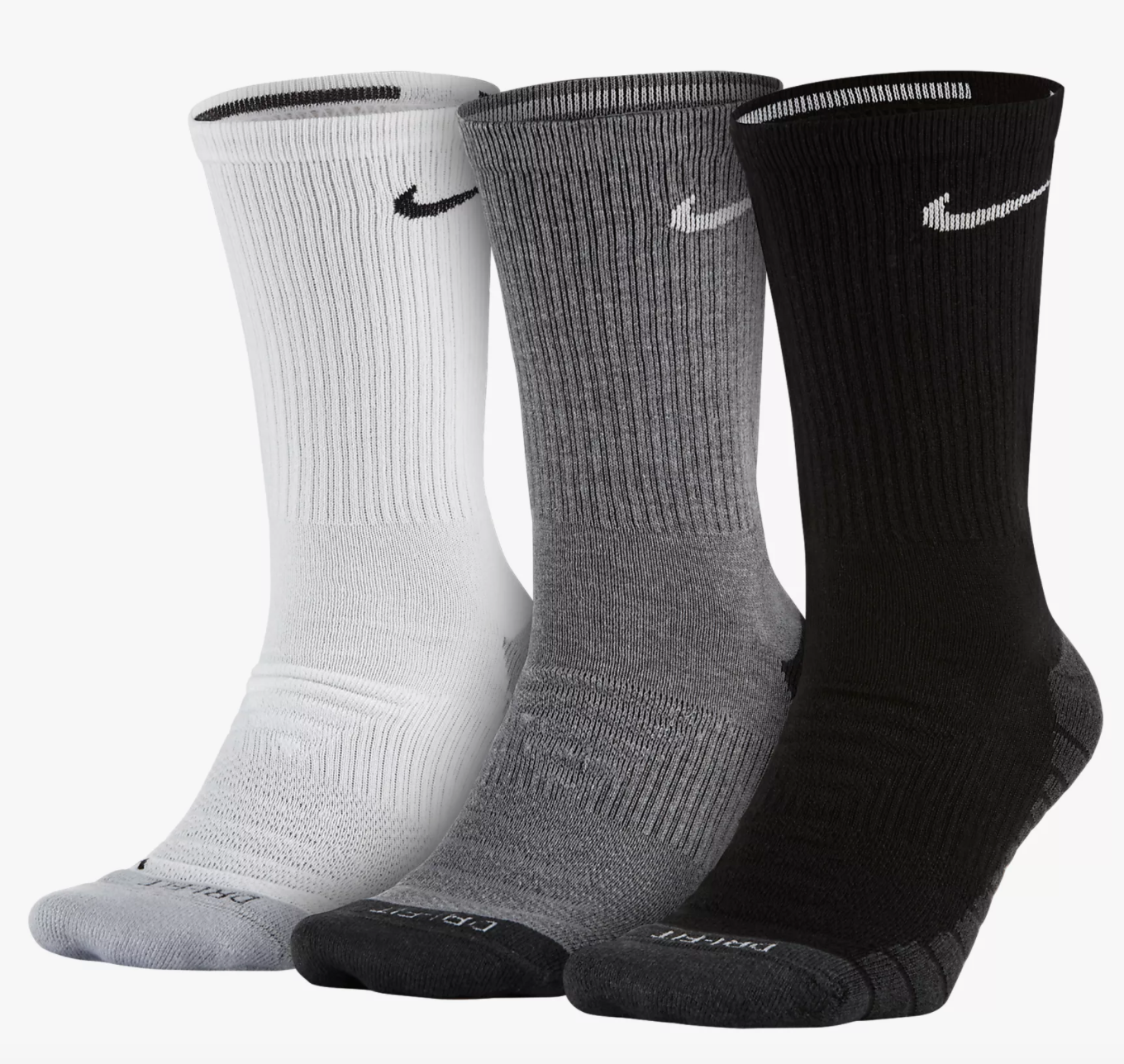 The socks in white, gray, and black