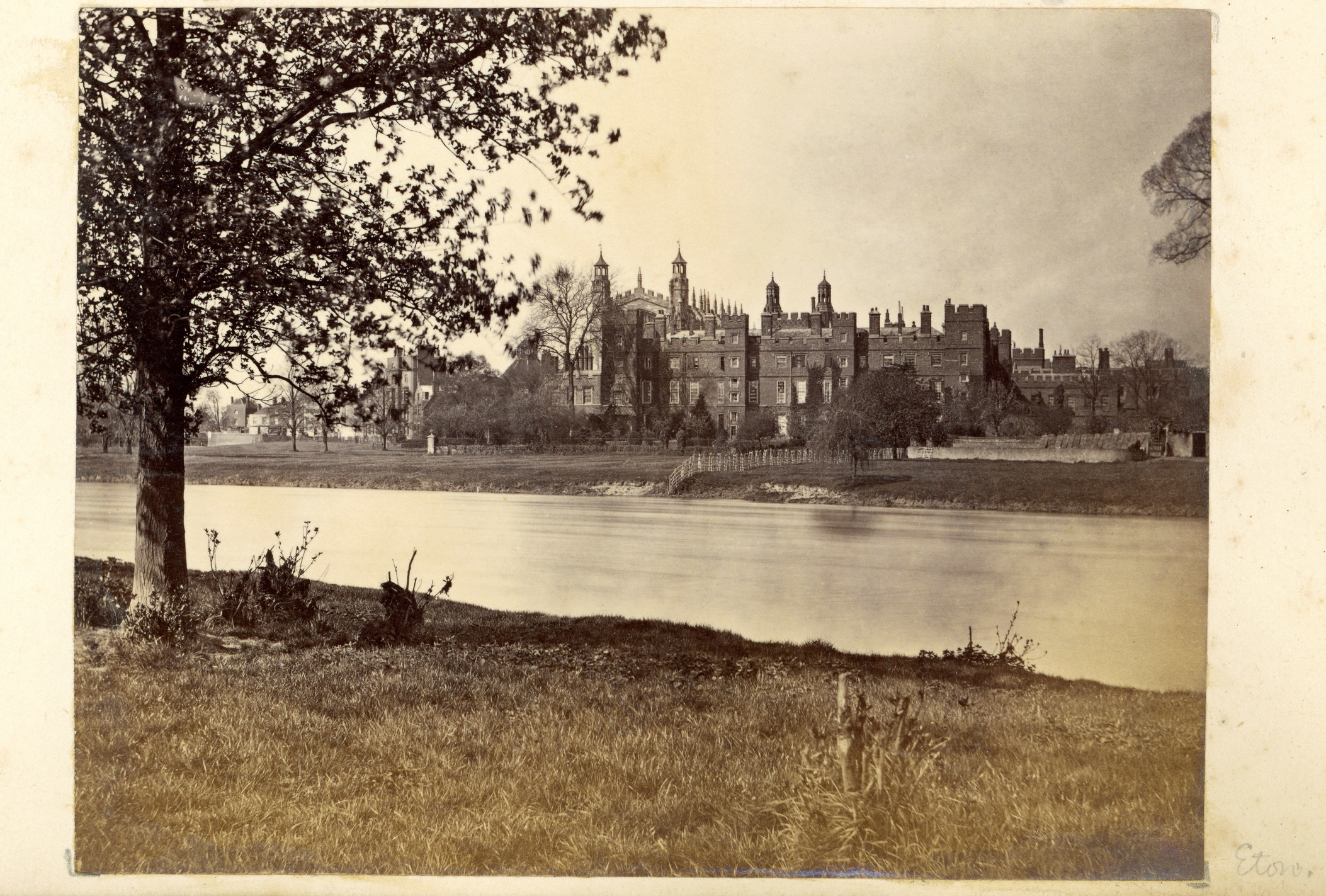 Vintage photograph taken circa 1870 of Eton College a British independent school for boys aged 13 to 18