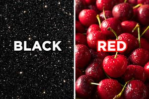 """On the left, a starry night sky with """"black"""" typed on top of the image, and on the right, a bunch of cherries with """"red"""" typed on top of the image"""