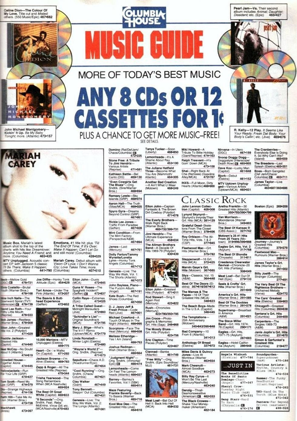 A order form for CDs for Columbia House.