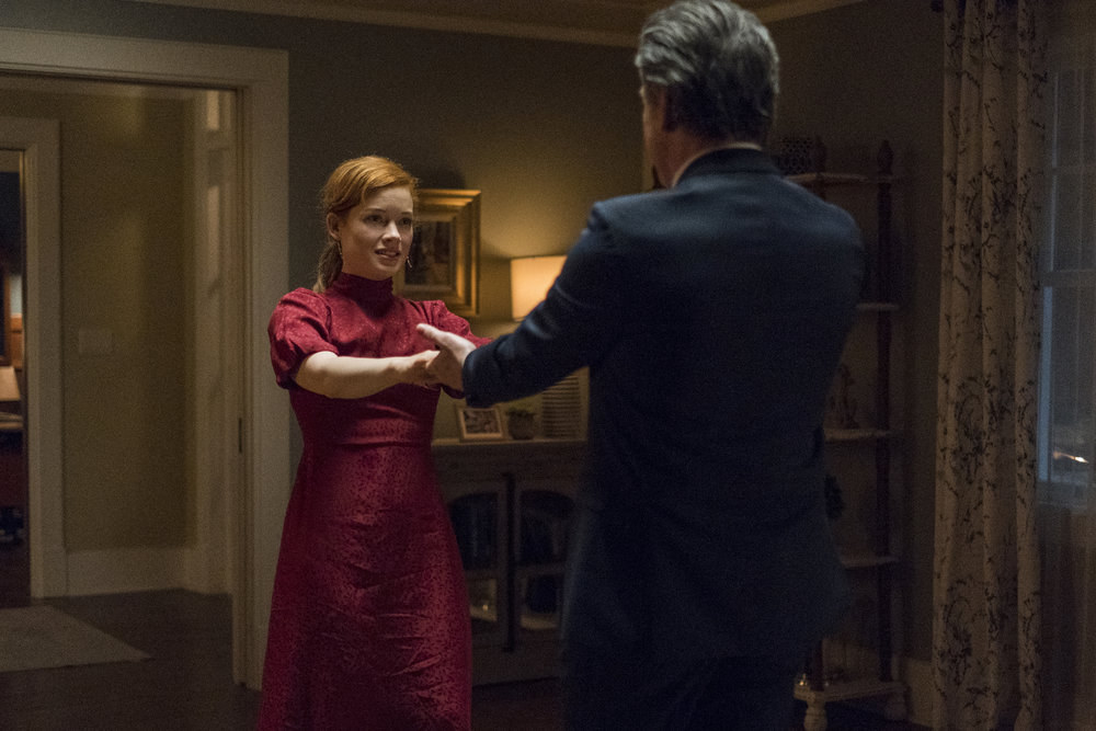 Jane Levy and Peter Gallagher as Zoey and Mitch, dancing, in Zoey's Extraordinary Playlist