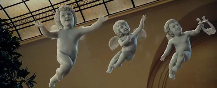 The Brothers as cherubs in the film