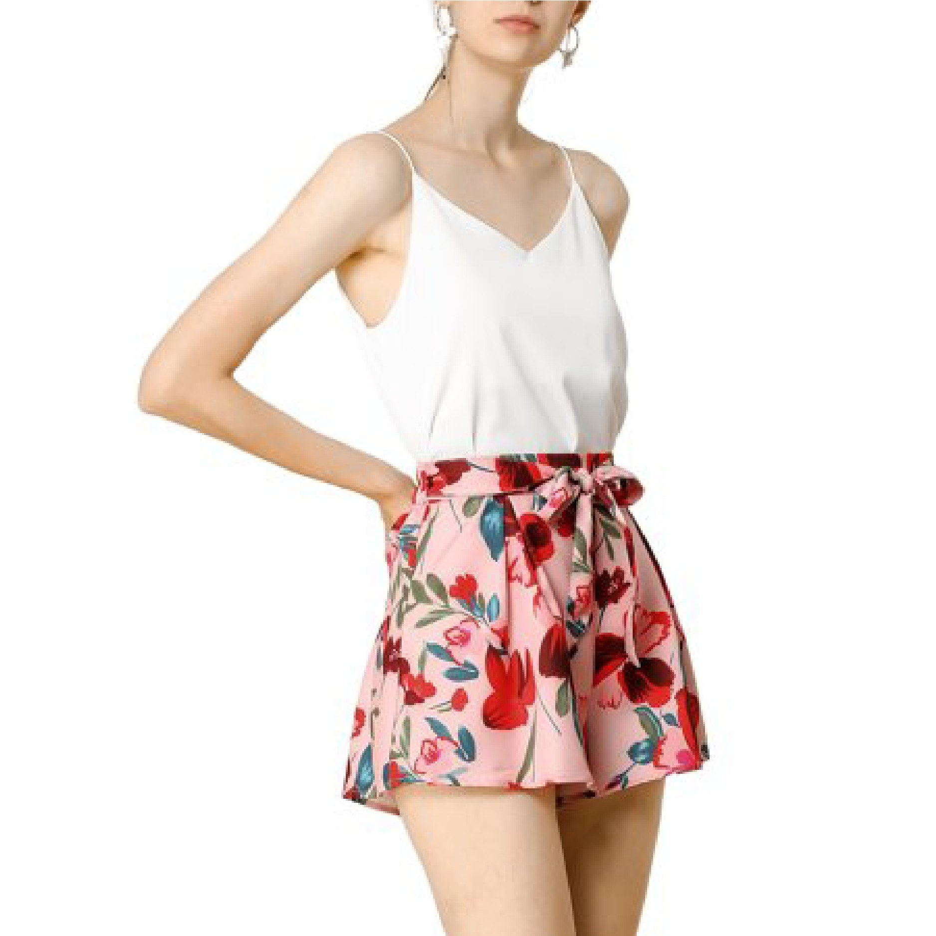 The pink belted floral shorts
