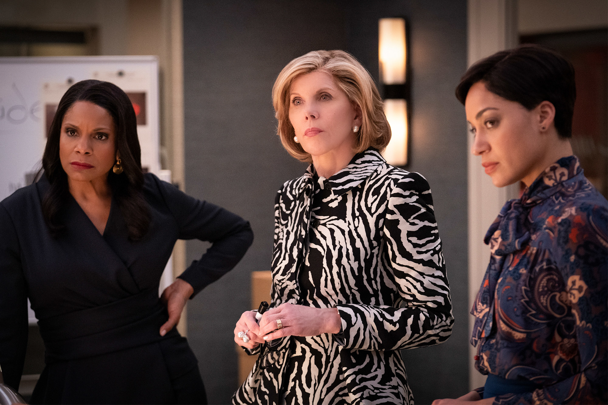 Audra McDonald, Christine Baranski, and Cush Jumbo in The Good Fight