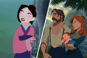 """On the left, Mulan sings """"Reflection,"""" and on the right, Tarzan's parents hold baby Tarzan as they stand in a rain forest"""