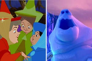 """Flora, Fauna, and Merryweather from """"Sleeping Beauty"""" on the left and Marshmallow the snow monster from """"Frozen"""" on the right"""