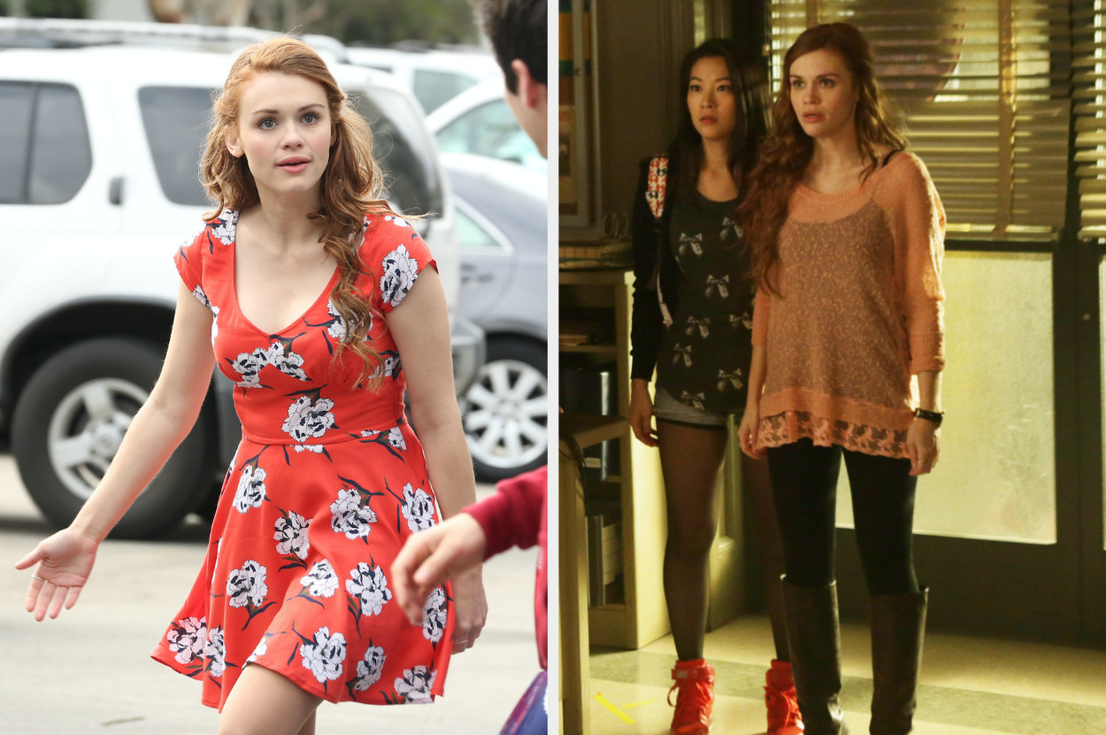 Lydia wearing a floral dress, and Lydia wearing a see-through long sleeve with lace bottom, tank underneath, leggings, and knee-high boots