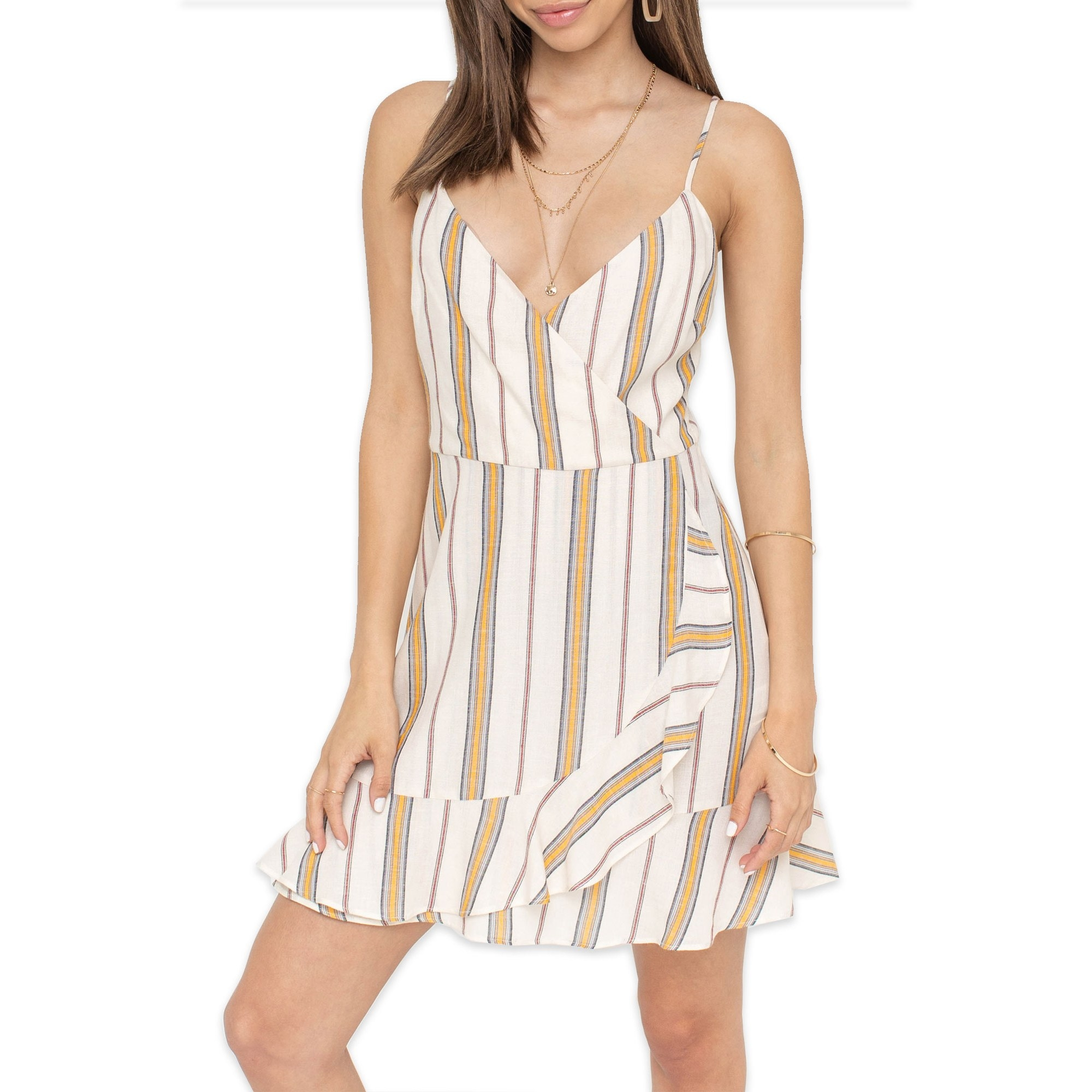 The white and brown striped ruffled mini dress