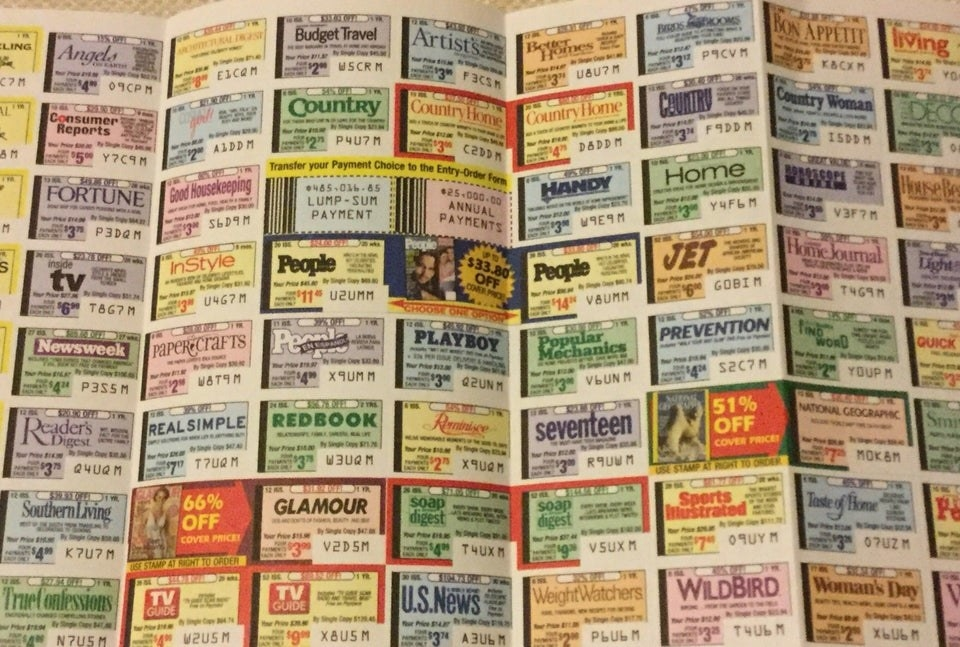 Stickers with magazine names on it that were used to order magazines from Publishers Clearing House.