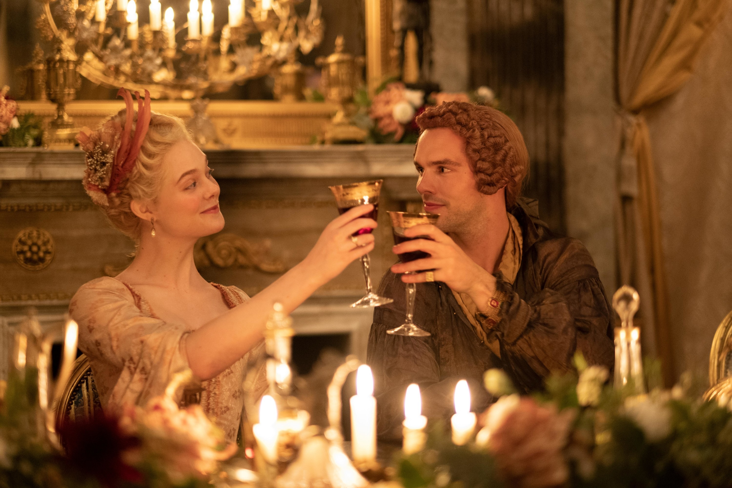 Elle Fanning and Nicholas Hoult as Catherine and Peter in The Great