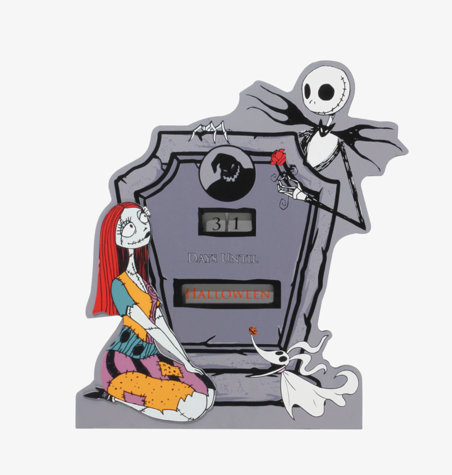 a grey coffin with jack skellington, sally, and zero around it and a count down to halloween in the middle
