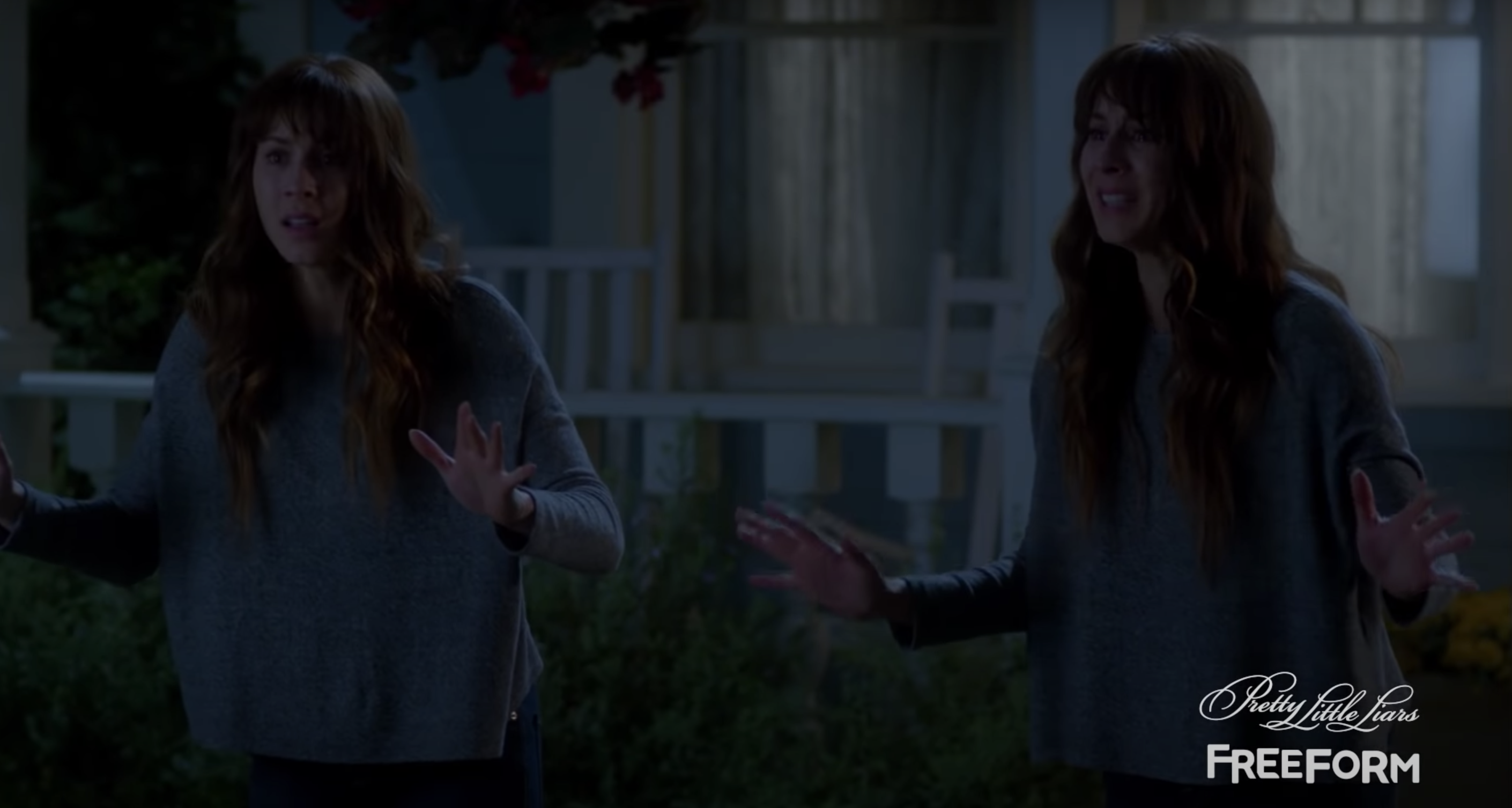 Spencer and her identical twin Alex standing next to each other in fear
