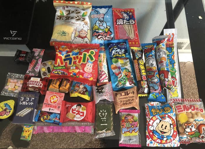 Japanese snacks laid out on a table