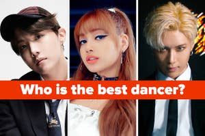 Photos of Lisa from Blackpink, J-Hope from BTS, and Taemin of Shinee under the question asking who is the best dancer