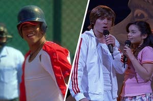 """On the left, Chad sings """"I Don't Dance"""" in """"High School Musical 2,"""" and on the right, Troy and Gabriella sing """"Breaking Free"""" in """"High School Musical"""""""