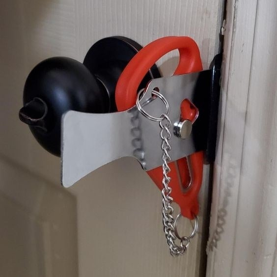 The door locker being used to keep a door locked