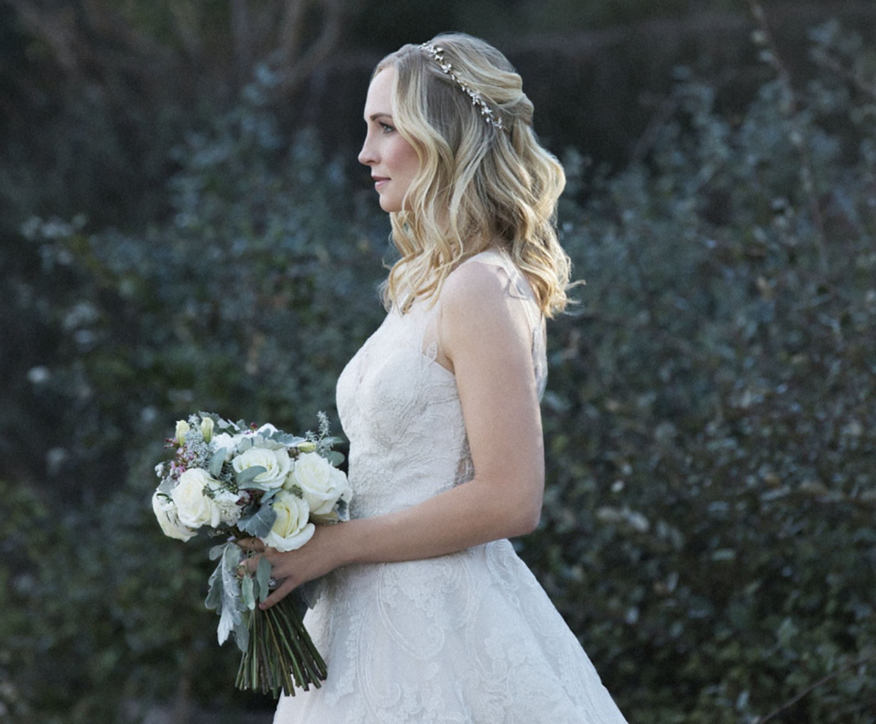 Caroline in a lace wedding dress