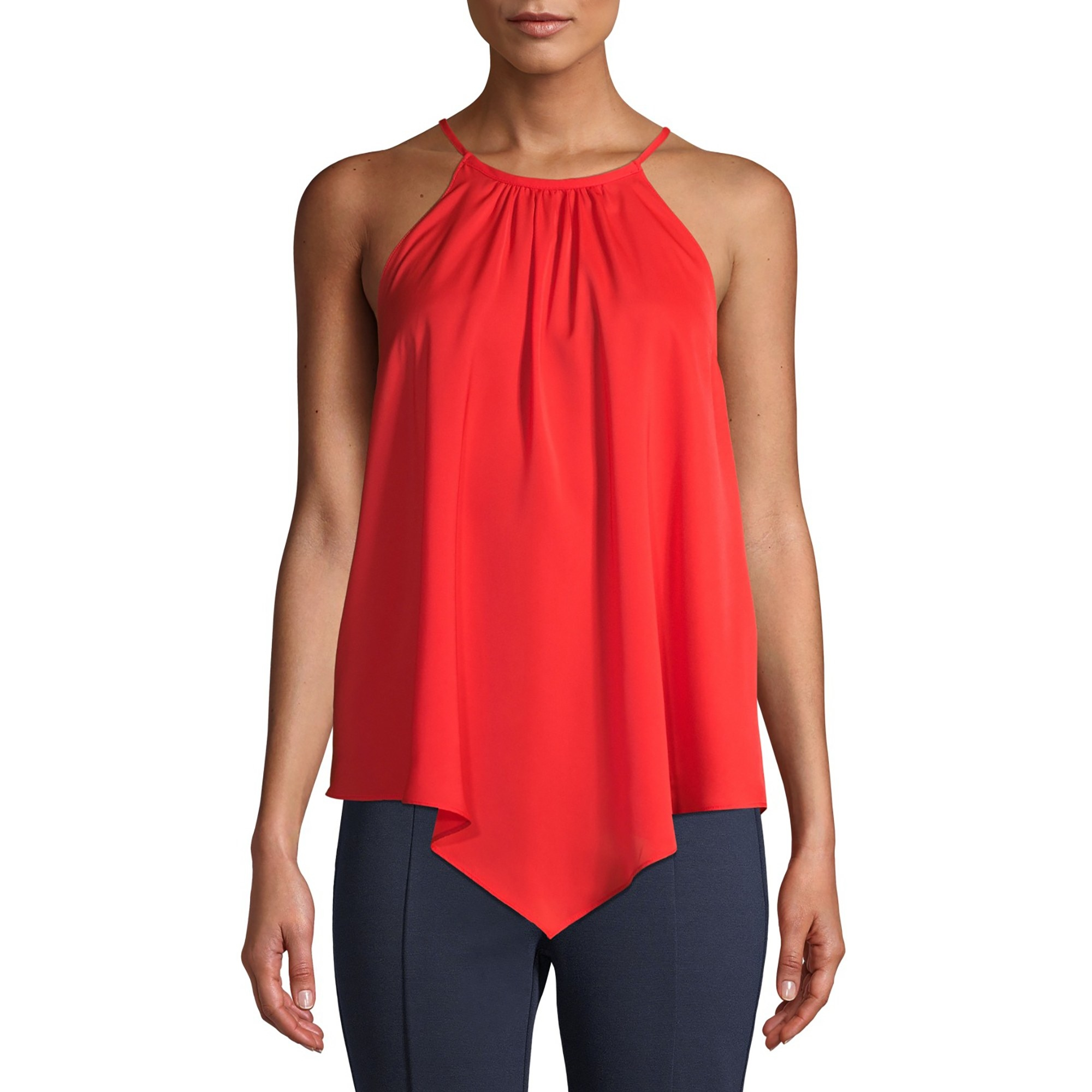 The red halter top with V-shaped hem