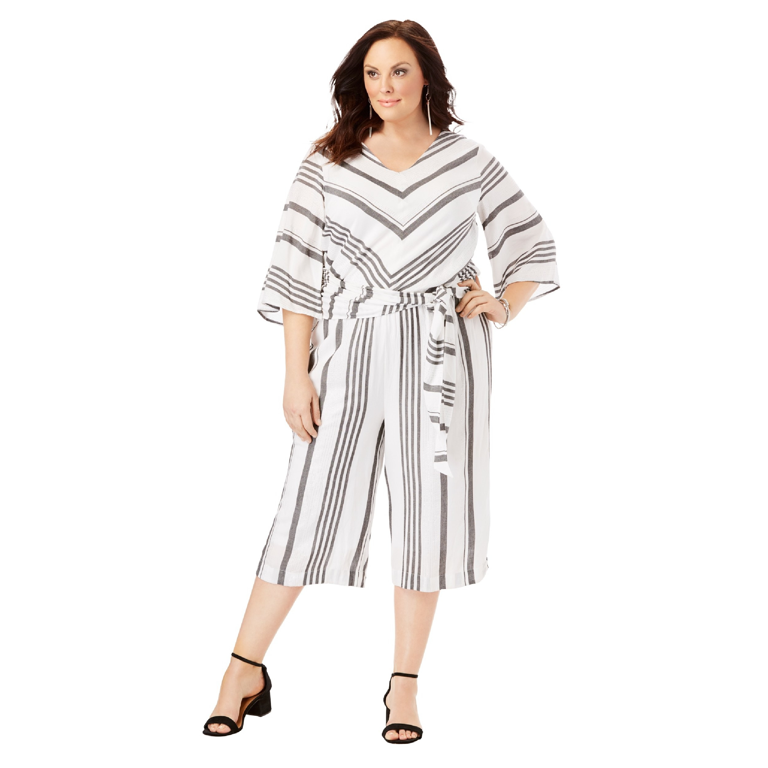 The grey and white striped jumpsuit with wide sleeves
