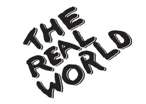 The Real World logo in black and white.