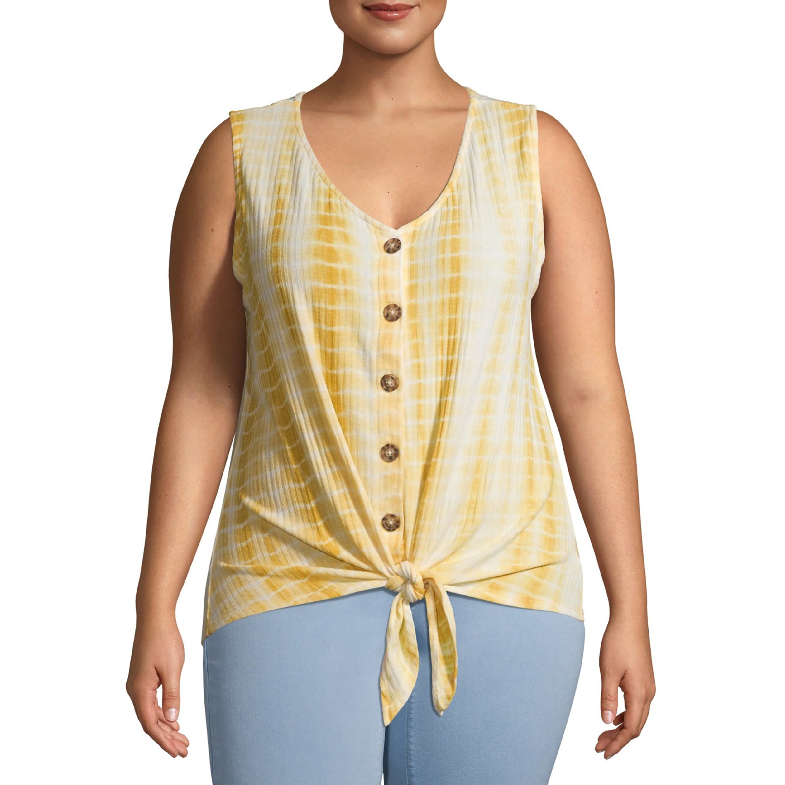 The yellow front-tie button-down top