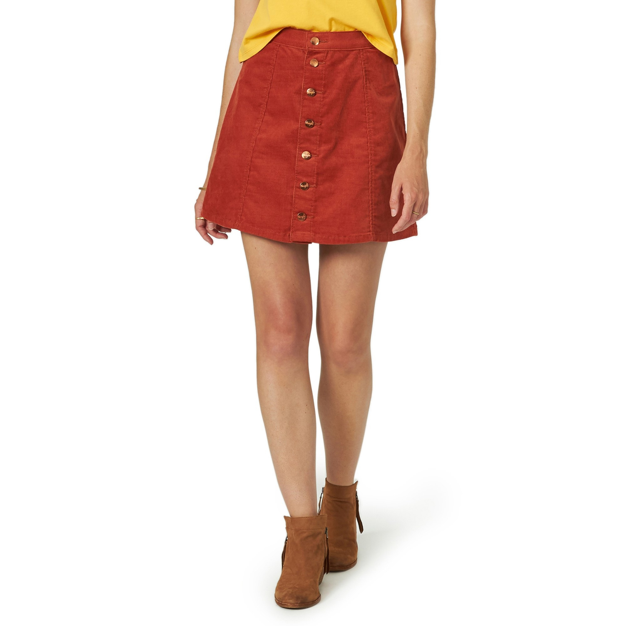 The button-down red skirt