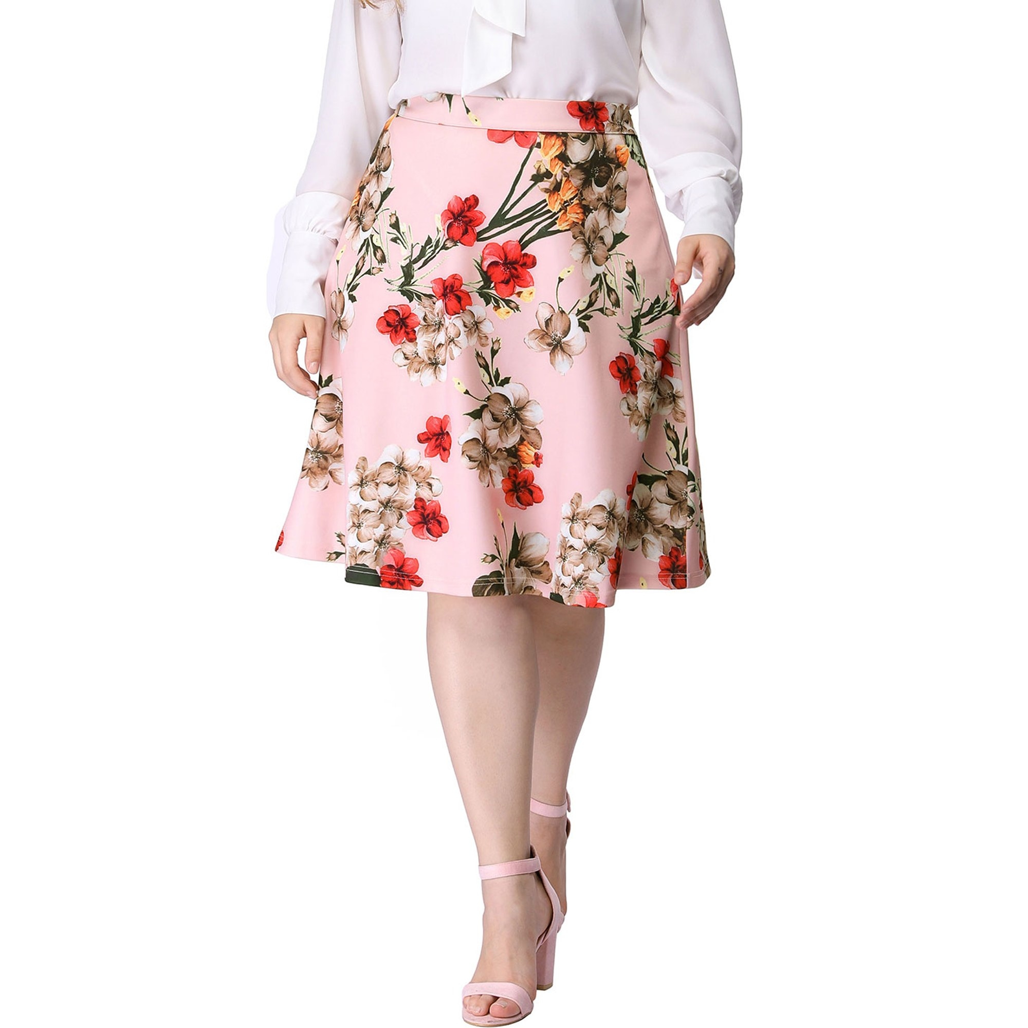 The pink floral midi skirt
