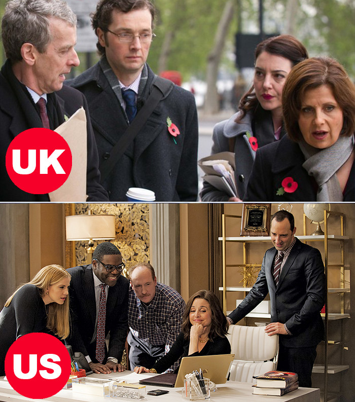Side-by-side images of the characters in BBC's The Thick Of It walking, talking, and deliberating, and the characters in HBO's Veep huddled around a desk and staring at a computer
