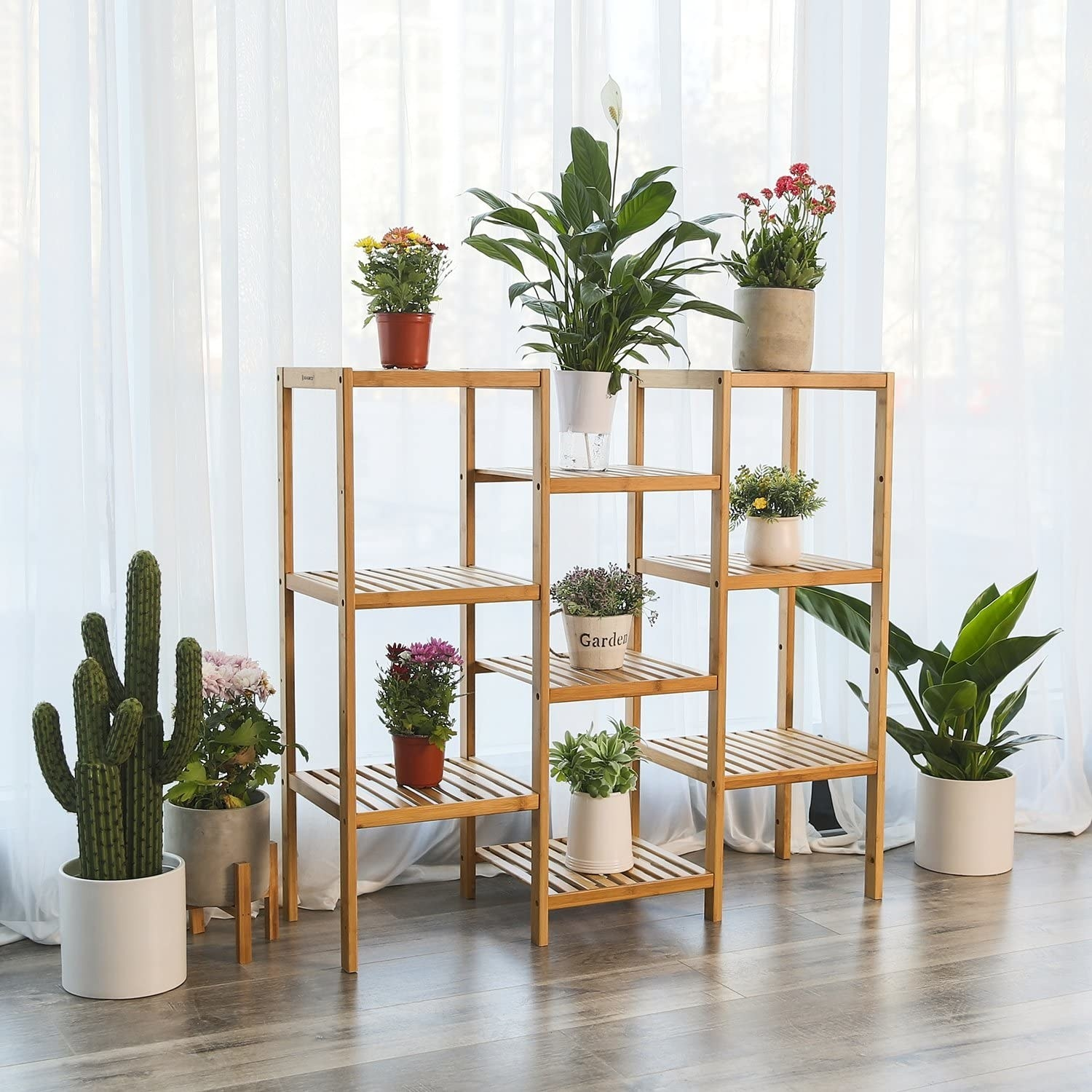 A shelf with planters on it