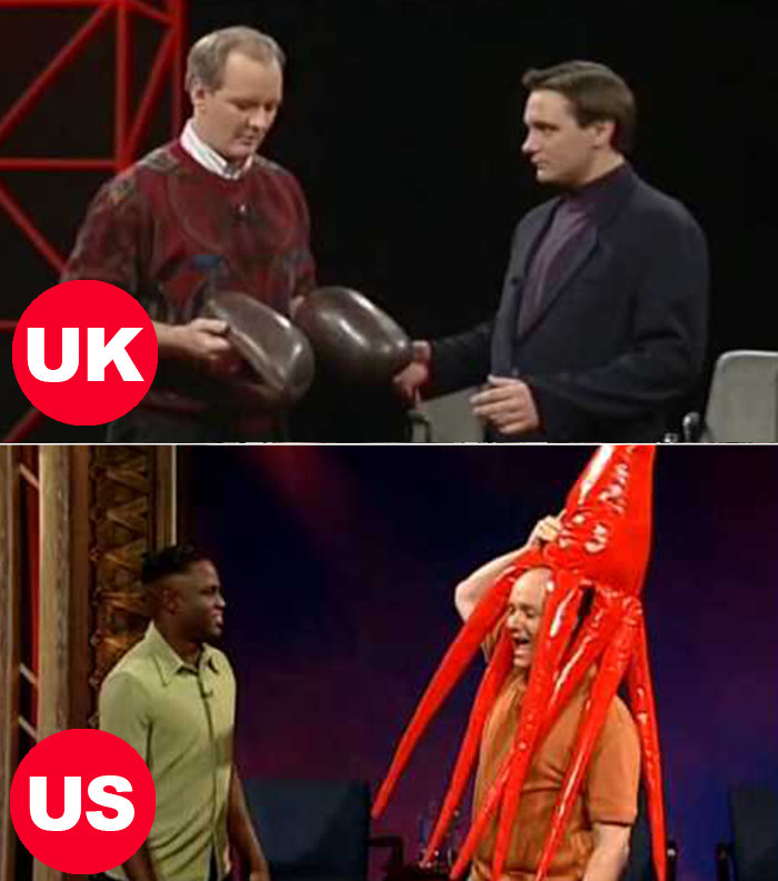 """Side-by-side images of Colin Mochrie and John Slattery playing """"props"""" on the UK version and Wayne Brady and Colin Mochrie playing """"props"""" on the US version"""