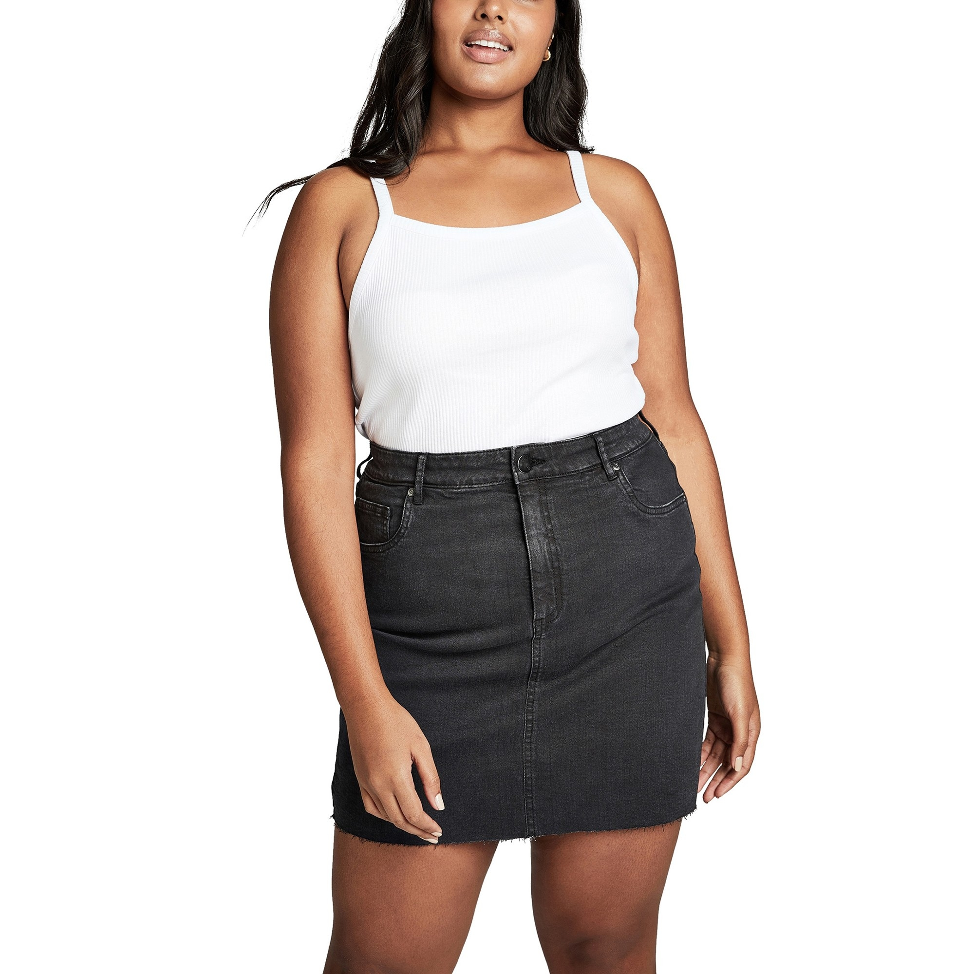 The black denim high-waisted skirt