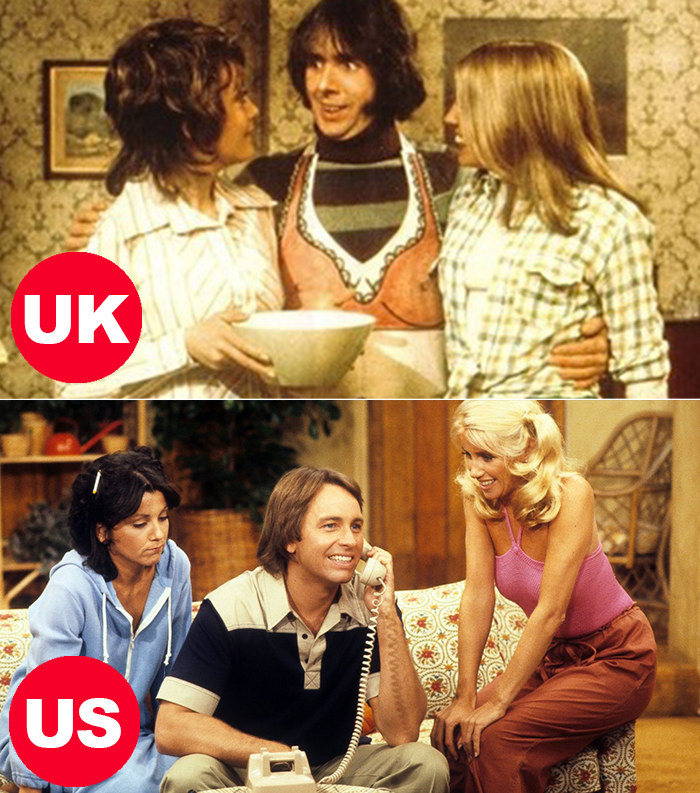 Side-by-side images of Chrissy, Jo, and Robin cooking in the UK's Man About the House and Chrissy, Janet, and Jack on the phone in the US version, Three's Company