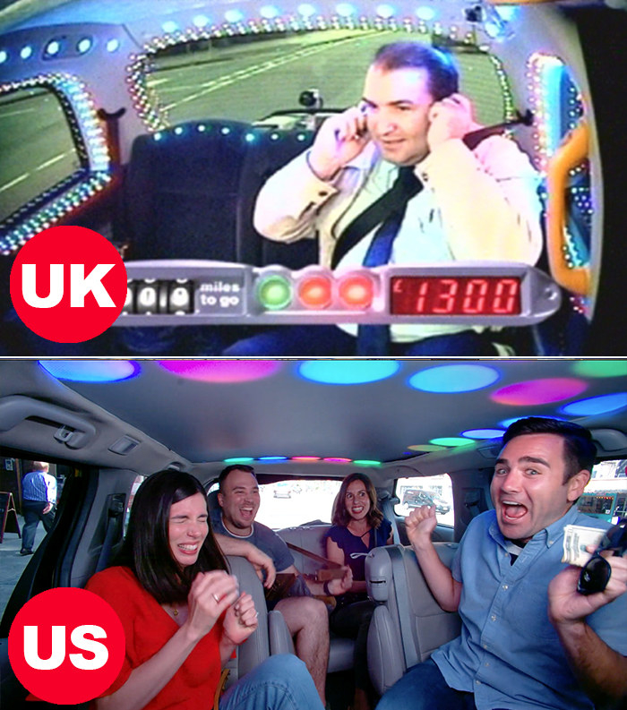 Side-by-side images of surprised contestants in both the US and UK versions of Cash Cab