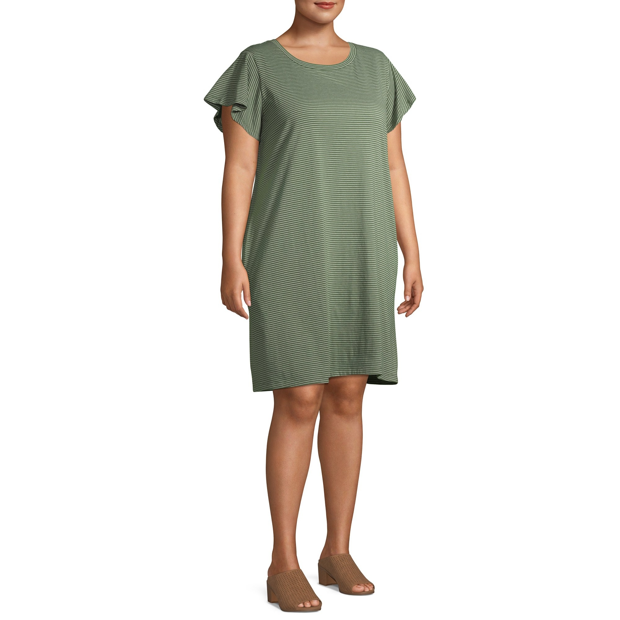 The olive green T-shirt dress with ruffled sleeves