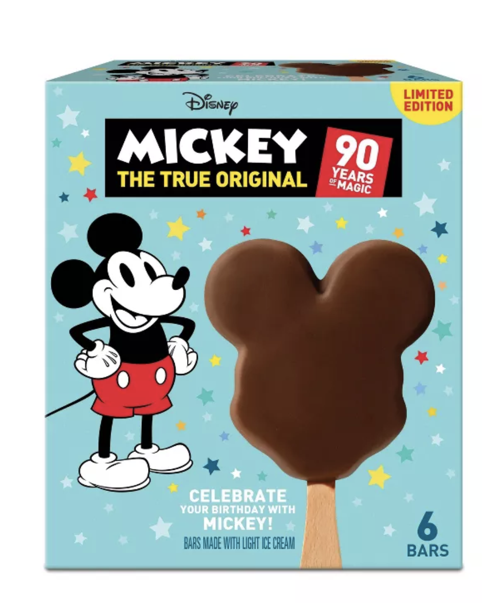 box of mickey mouse–shaped ice creams covered in chocolate
