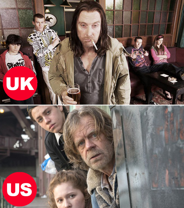 Side-by-side images of David Threlfall as Frank Gallagher in the UK version of Shameless and William H. Macy as Frank Gallagher in the US version of Shameless, both with their kids in the background