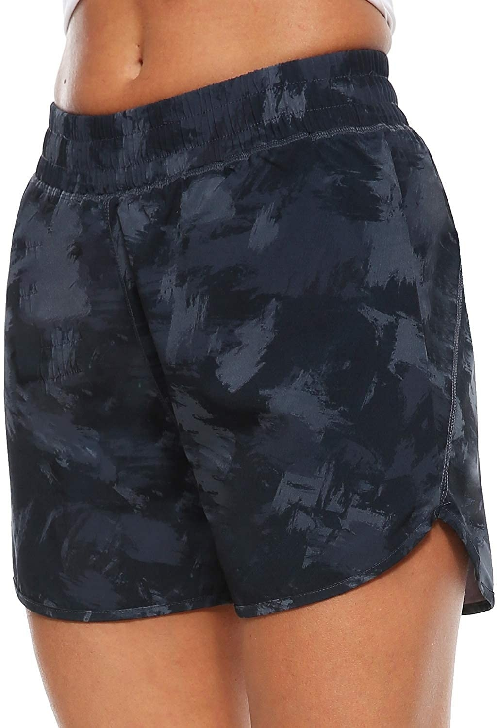 The shorts with an elastic waist band and black and grey brushed pattern