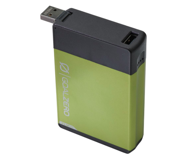 Green portable charger with USB port for devices