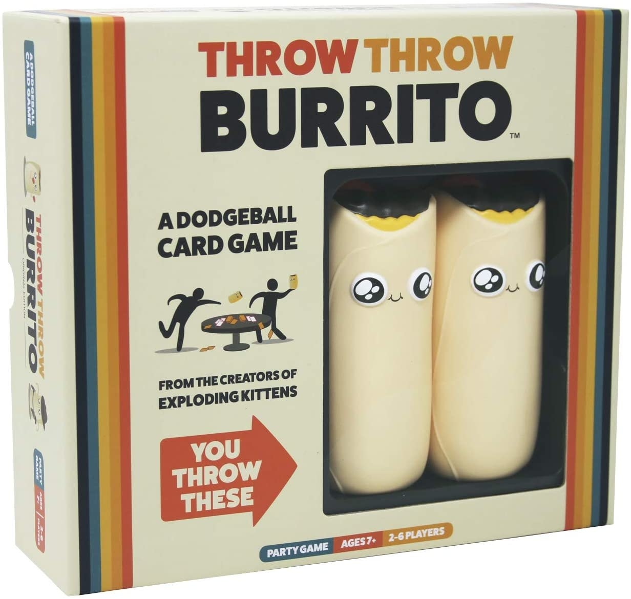 "The game box, which reads ""Throw Throw Burrito a dodgeball card game from the creators of Exploding Kittens"" with the two burrito toys visible and an arrow that says ""You throw these"""