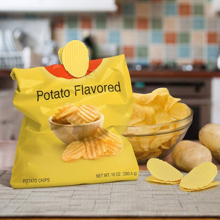 yellow chip-inspired clips holding a chip bag closed