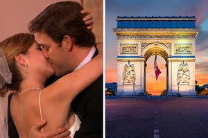 "On the left, Jim and Pam from ""The Office"" kiss on their wedding day, and on the right, Arc de Triomphe at night"