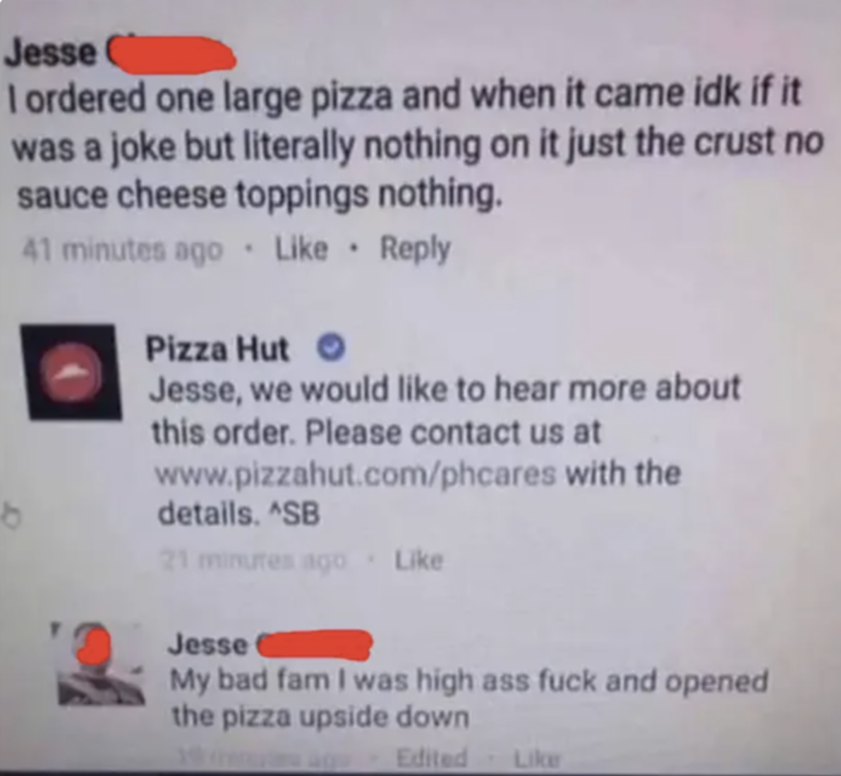 Facebook conversation where a guy opens his pizza upside down and thinks it doesn't have any toppings