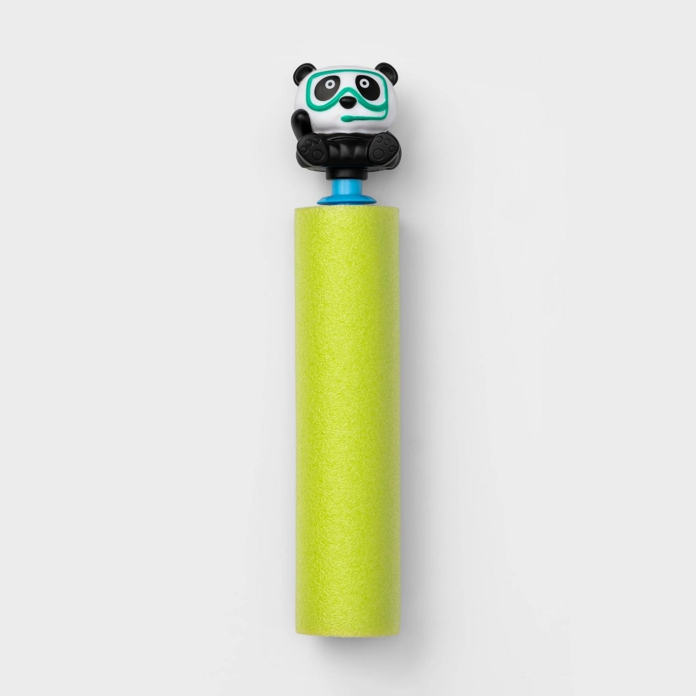 The foam blaster with a pump handle shaped like a panda wearing a snorkel