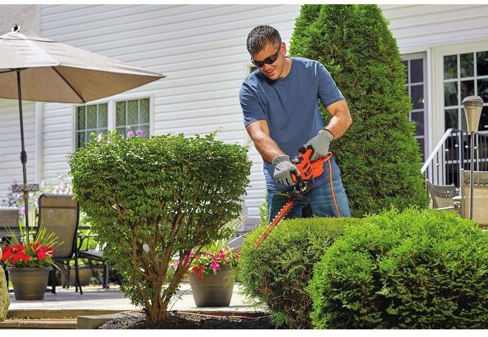 a model holding the hedge trimmer while trimming bushes
