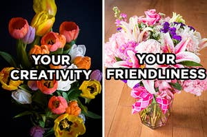 "On the left, a bouquet of multicolored tulips with ""your creativity"" typed on top of it, and on the right, spring flowers and baby's breath in a glass vase with a ribbon tied around it with ""your friendliness"" typed on top of it"