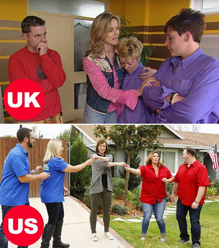 Side-by-side images of teams in both the UK's Changing Rooms and the US's Trading Spaces